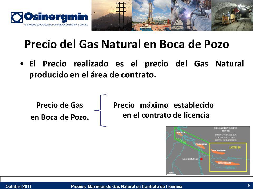 Precio del Gas Natural en Boca de Pozo El Precio realizado es el precio del Gas Natural producido en el área de contrato. Precio de Gas en Boca de Poz