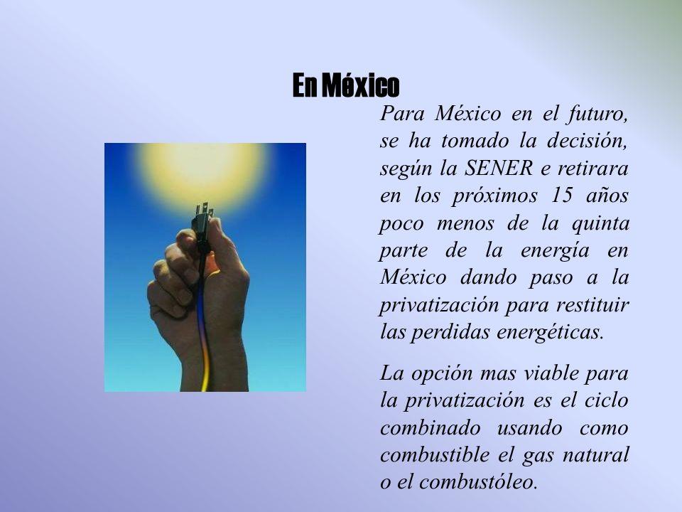 En México Para México en el futuro, se ha tomado la decisión, según la SENER e retirara en los próximos 15 años poco menos de la quinta parte de la energía en México dando paso a la privatización para restituir las perdidas energéticas.