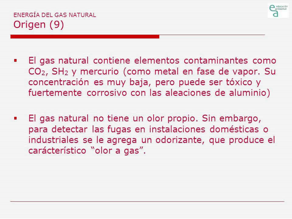 ENERGÍA DEL GAS NATURAL Origen (9) El gas natural contiene elementos contaminantes como CO 2, SH 2 y mercurio (como metal en fase de vapor.