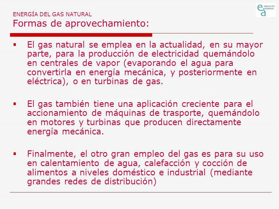 ENERGÍA DEL GAS NATURAL Formas de aprovechamiento: El gas natural se emplea en la actualidad, en su mayor parte, para la producción de electricidad qu
