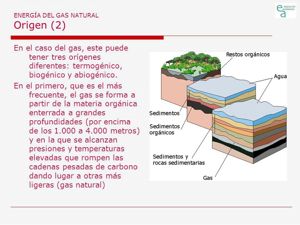 ENERGÍA DEL GAS NATURAL Origen (2) En el caso del gas, este puede tener tres orígenes diferentes: termogénico, biogénico y abiogénico. En el primero,
