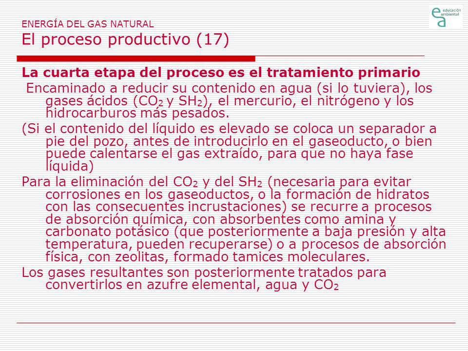 ENERGÍA DEL GAS NATURAL El proceso productivo (17) La cuarta etapa del proceso es el tratamiento primario Encaminado a reducir su contenido en agua (si lo tuviera), los gases ácidos (CO 2 y SH 2 ), el mercurio, el nitrógeno y los hidrocarburos más pesados.