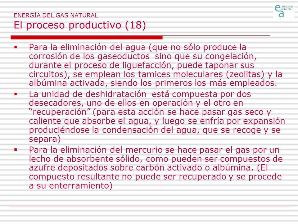 ENERGÍA DEL GAS NATURAL El proceso productivo (18) Para la eliminación del agua (que no sólo produce la corrosión de los gaseoductos sino que su congelación, durante el proceso de liguefacción, puede taponar sus circuitos), se emplean los tamices moleculares (zeolitas) y la albúmina activada, siendo los primeros los más empleados.