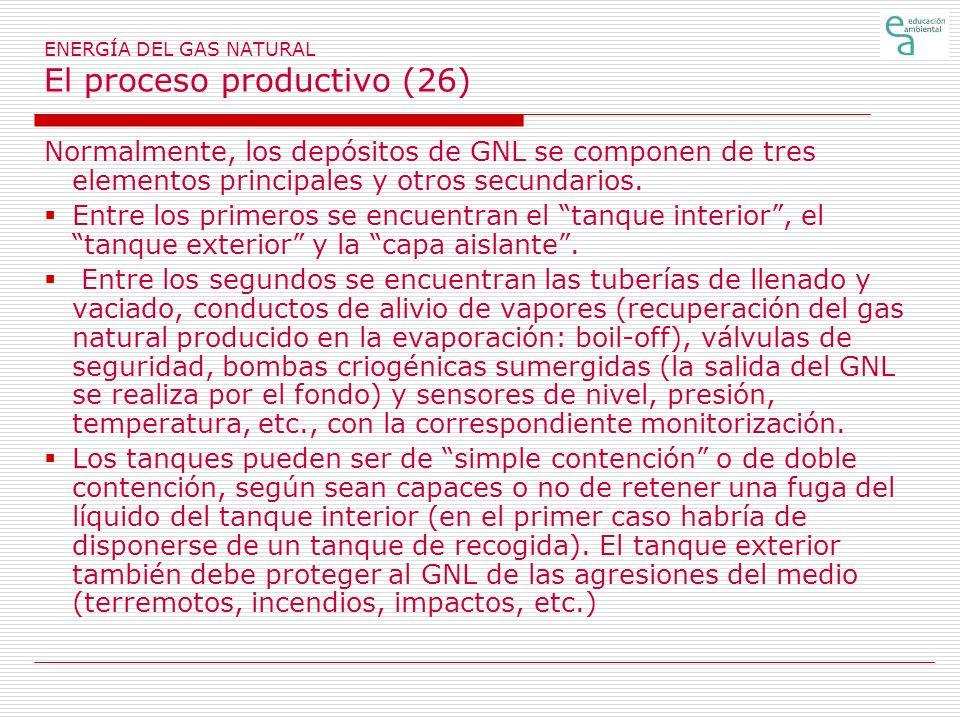 ENERGÍA DEL GAS NATURAL El proceso productivo (26) Normalmente, los depósitos de GNL se componen de tres elementos principales y otros secundarios.