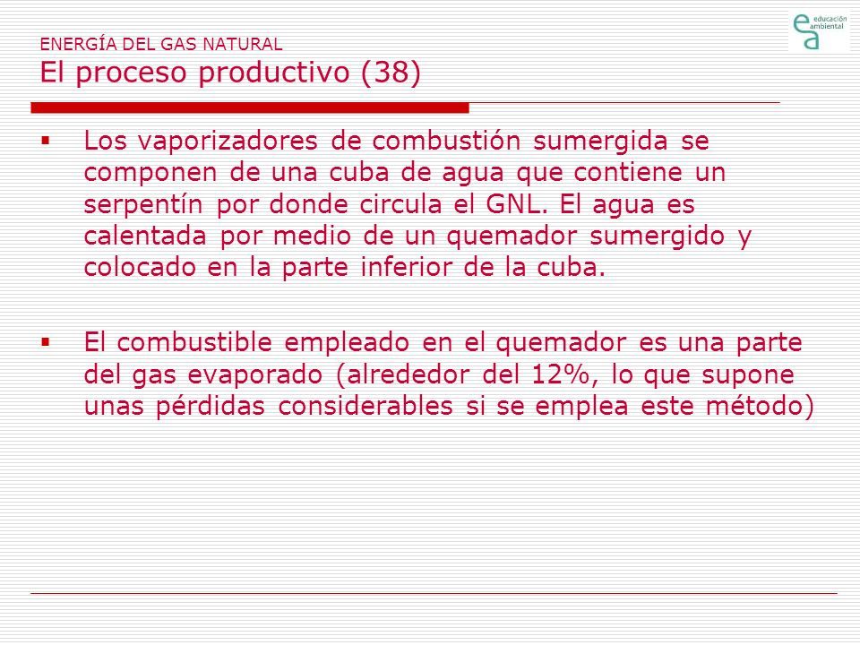 ENERGÍA DEL GAS NATURAL El proceso productivo (38) Los vaporizadores de combustión sumergida se componen de una cuba de agua que contiene un serpentín