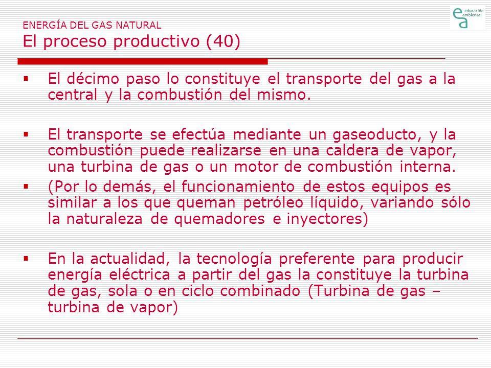 ENERGÍA DEL GAS NATURAL El proceso productivo (40) El décimo paso lo constituye el transporte del gas a la central y la combustión del mismo. El trans