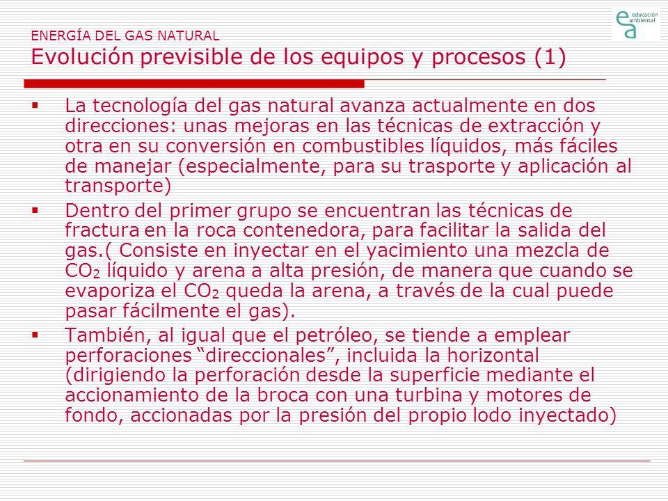 ENERGÍA DEL GAS NATURAL Evolución previsible de los equipos y procesos (1) La tecnología del gas natural avanza actualmente en dos direcciones: unas m