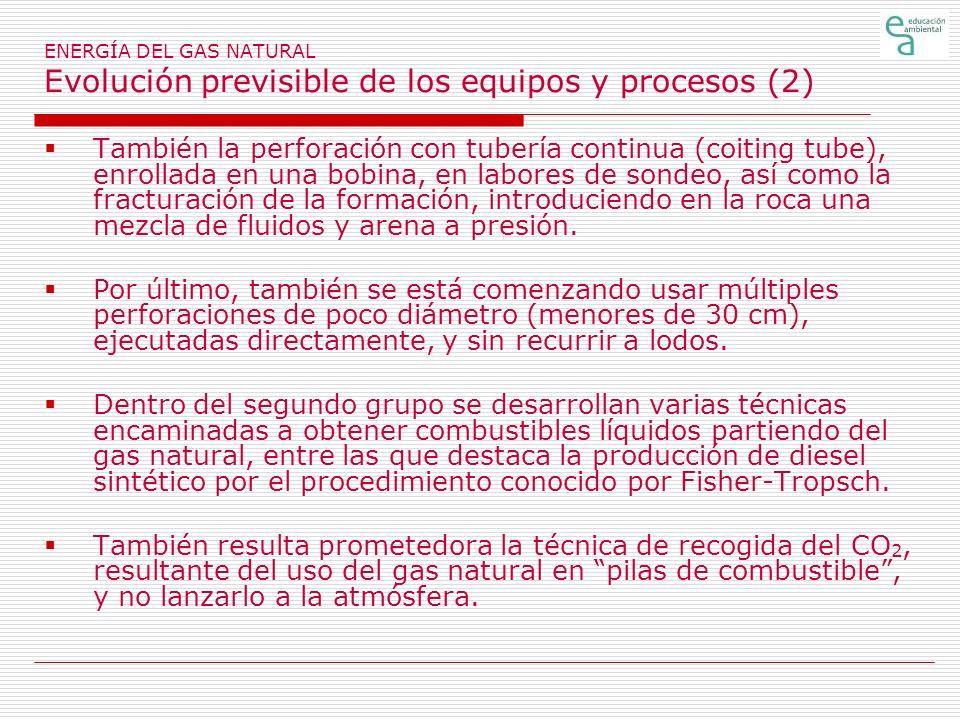 ENERGÍA DEL GAS NATURAL Evolución previsible de los equipos y procesos (2) También la perforación con tubería continua (coiting tube), enrollada en un