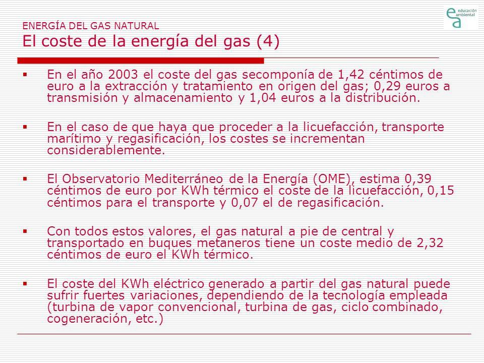 ENERGÍA DEL GAS NATURAL El coste de la energía del gas (4) En el año 2003 el coste del gas secomponía de 1,42 céntimos de euro a la extracción y trata