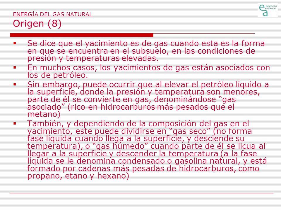 ENERGÍA DEL GAS NATURAL Origen (8) Se dice que el yacimiento es de gas cuando esta es la forma en que se encuentra en el subsuelo, en las condiciones de presión y temperaturas elevadas.