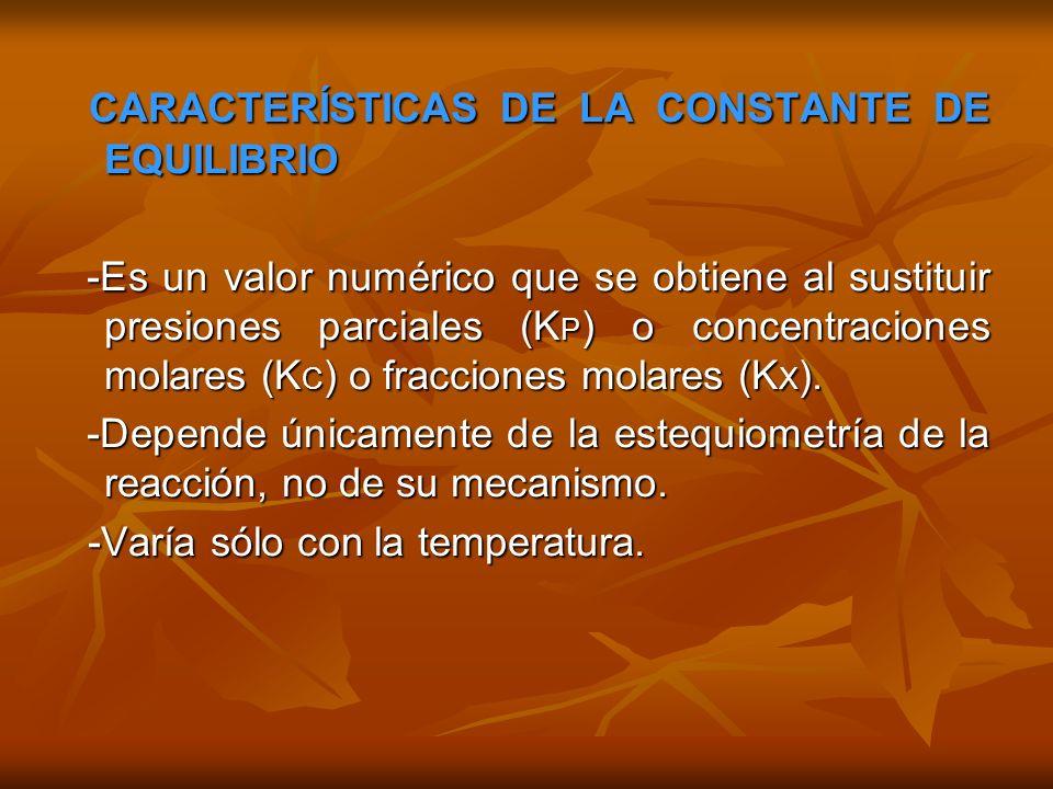 RELACIÓN ENTRE LAS CONSTANTES DE EQUILIBRIO K C, K P Y K X RELACIÓN ENTRE LAS CONSTANTES DE EQUILIBRIO K C, K P Y K X