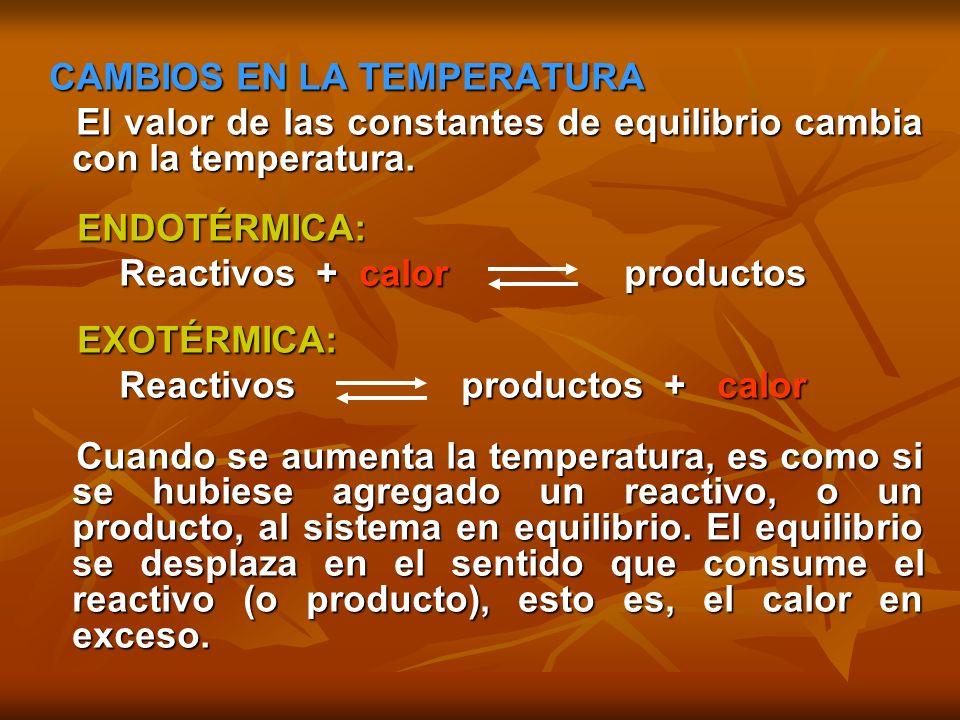 ENDOTÉRMICA: ENDOTÉRMICA: Aumentar T da por resultado que Keq aumente Aumentar T da por resultado que Keq aumente EXOTÉRMICA: EXOTÉRMICA: Aumentar T da por resultado que Keq disminuya Aumentar T da por resultado que Keq disminuya EJEMPLO EJEMPLO Si aumentamos la temperatura, la reacción se desplaza en el sentido que consuma calor, de ese modo logra disminuir la temperatura, esto implica que la reacción se desplaza hacia la izquierda.