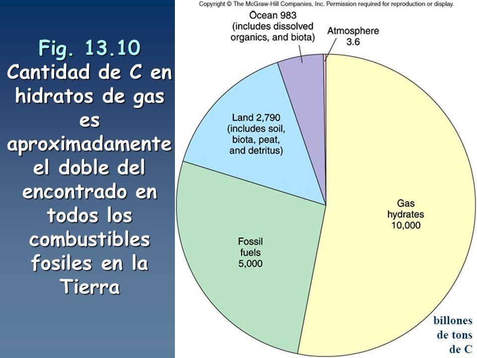 Fig. 13.10 Cantidad de C en hidratos de gas es aproximadamente el doble del encontrado en todos los combustibles fosiles en la Tierra billones de tons