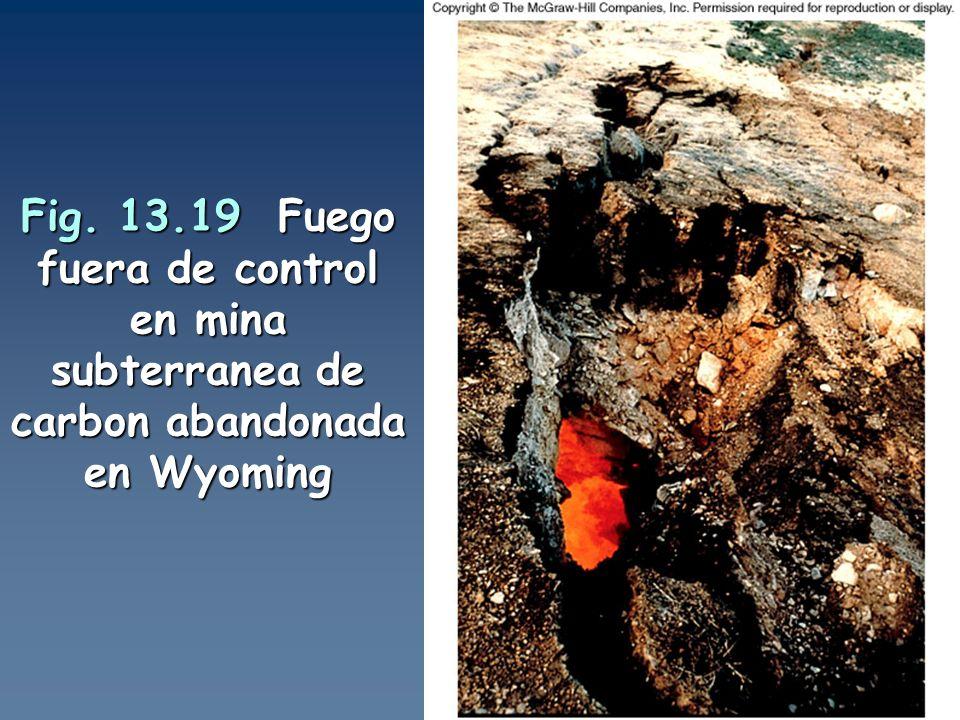 Fig. 13.19 Fuego fuera de control en mina subterranea de carbon abandonada en Wyoming