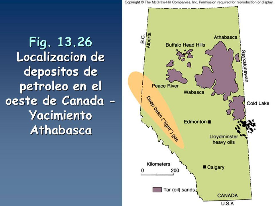 Fig. 13.26 Localizacion de depositos de petroleo en el oeste de Canada - Yacimiento Athabasca
