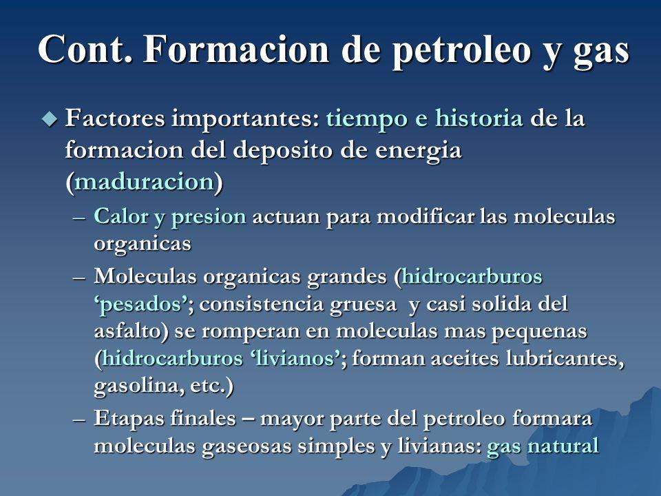 Factores importantes: tiempo e historia de la formacion del deposito de energia (maduracion) Factores importantes: tiempo e historia de la formacion d
