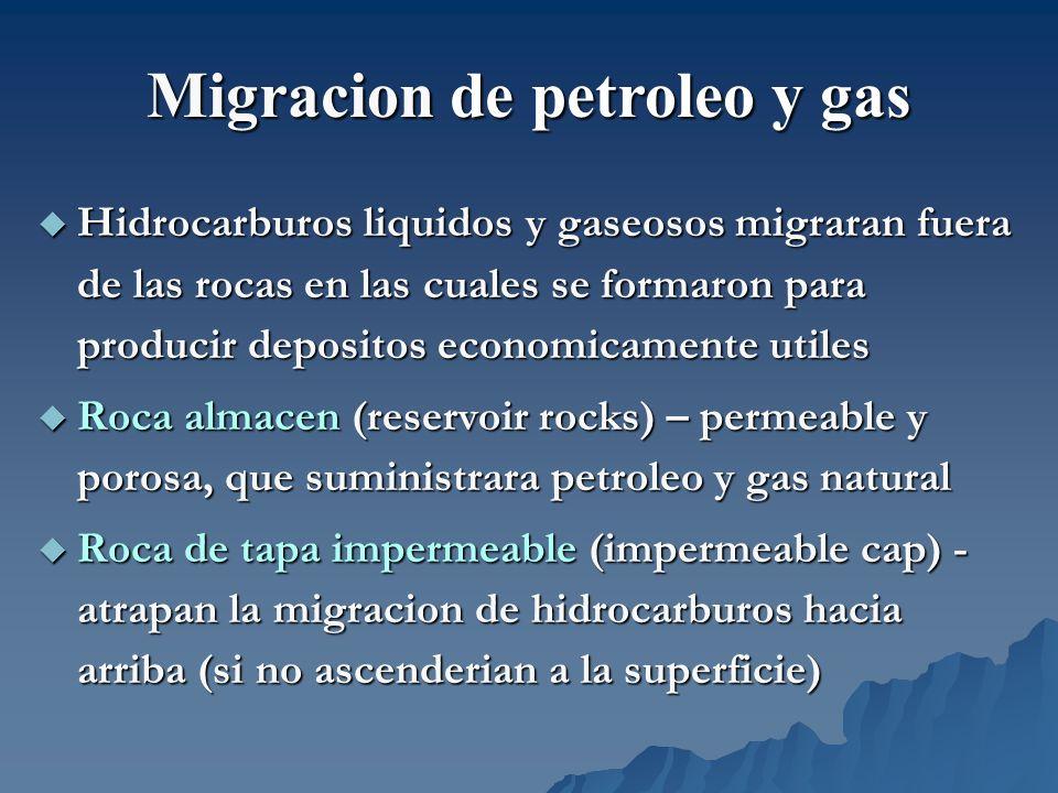 Zonas geopresurizadas (geopressurized) Zonas geopresurizadas (geopressurized) –CH 4 miles de metros bajo superficie (altas T y altas P), disuelto en agua, llenando los poros en las rocas Hidratos de metano (methane hydrates) Hidratos de metano (methane hydrates) –CH 4 y hielo solido (congelado) cristalino en aguas articas y sedimentos marinos –Problema para el clima global, si el calentamiento provoca la liberacion del CH 4 en los hidratos de gas en el Artico CH 4 en capas de carbon (coal-bed) CH 4 en capas de carbon (coal-bed) –CH 4 acumulado durante procesos de formacion de carbon Fuentes alternas de gas natural
