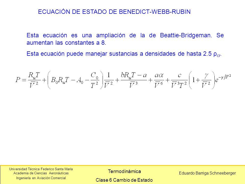 Universidad Técnica Federico Santa María Academia de Ciencias Aeronáuticas Ingeniería en Aviación Comercial Eduardo Barriga Schneeberger Termodinámica Clase 6 Cambio de Estado ECUACIÓN DE ESTADO DE BENEDICT-WEBB-RUBIN Esta ecuación es una ampliación de la de Beattie-Bridgeman.