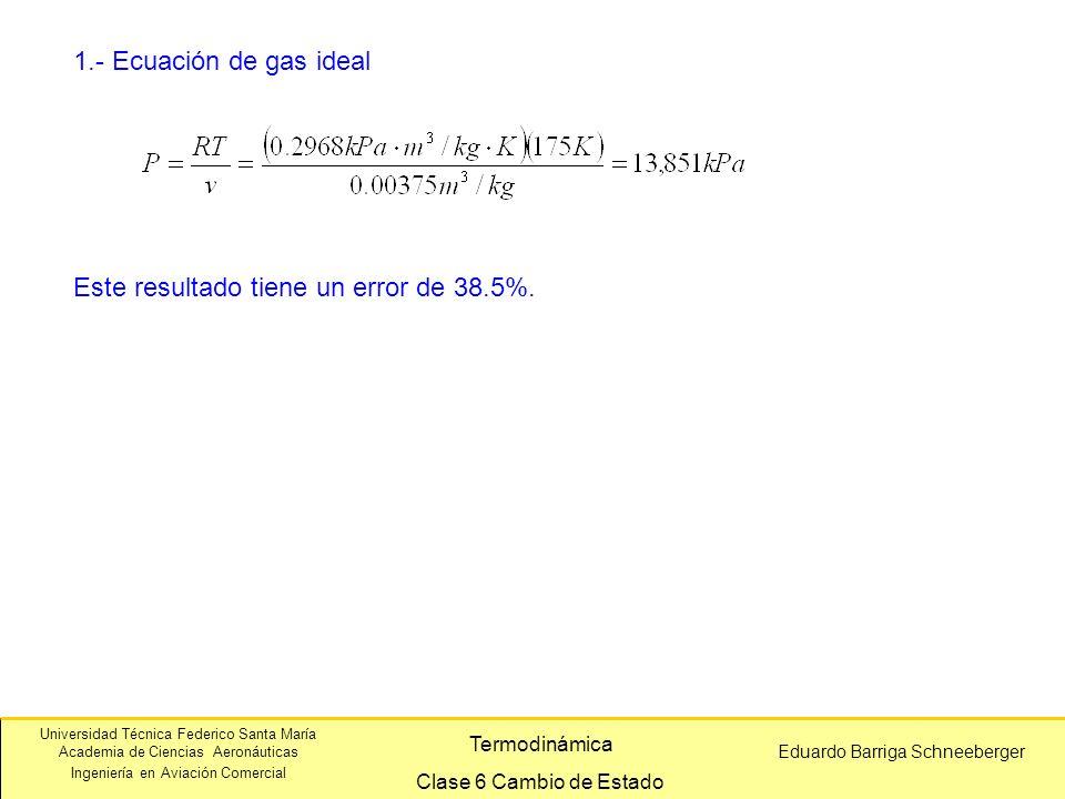 Universidad Técnica Federico Santa María Academia de Ciencias Aeronáuticas Ingeniería en Aviación Comercial Eduardo Barriga Schneeberger Termodinámica Clase 6 Cambio de Estado 1.- Ecuación de gas ideal Este resultado tiene un error de 38.5%.