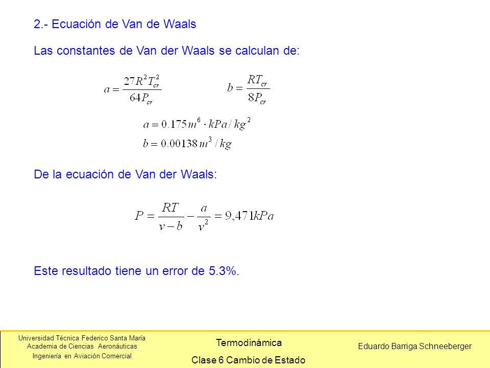 Universidad Técnica Federico Santa María Academia de Ciencias Aeronáuticas Ingeniería en Aviación Comercial Eduardo Barriga Schneeberger Termodinámica Clase 6 Cambio de Estado 2.- Ecuación de Van de Waals Este resultado tiene un error de 5.3%.