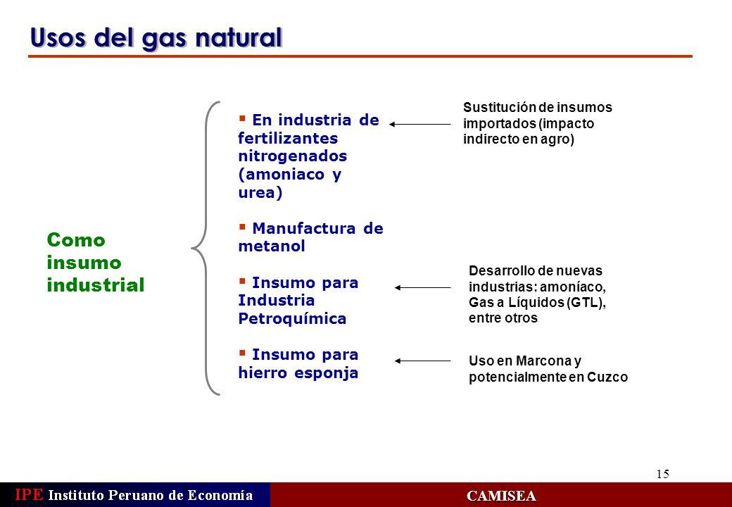 15 Usos del gas natural CAMISEA Como insumo industrial En industria de fertilizantes nitrogenados (amoniaco y urea) Manufactura de metanol Insumo para