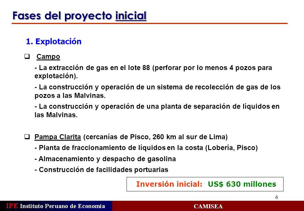 6 Fases del proyecto inicial CAMISEA Campo - La extracción de gas en el lote 88 (perforar por lo menos 4 pozos para explotación). - La construcción y