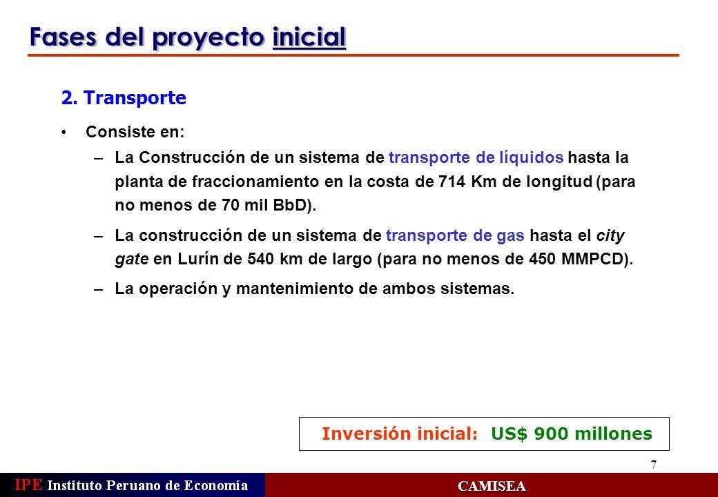 8 Fases del proyecto inicial CAMISEA Consiste en: –La construcción de un sistema de distribución de gas natural en Lima y Callao (compromiso de atender a los usuarios iniciales y de tener no menos de 10 mil usuarios al 2do.
