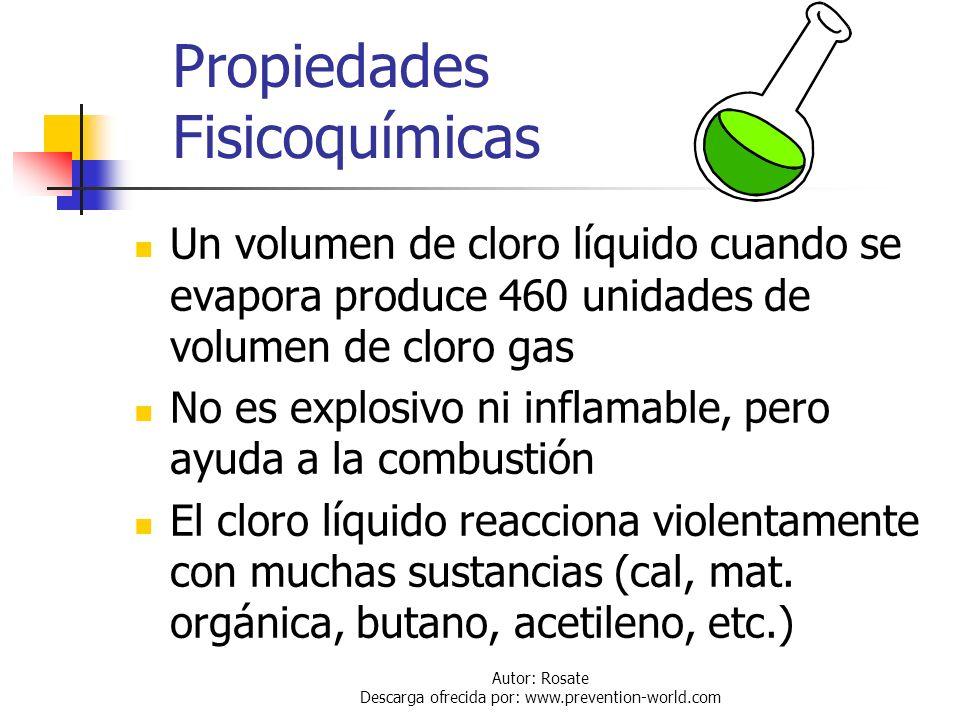 Autor: Rosate Descarga ofrecida por: www.prevention-world.com Propiedades Fisicoquímicas Sobre su aspecto: Gas: color amarillo verdoso, olor penetrant