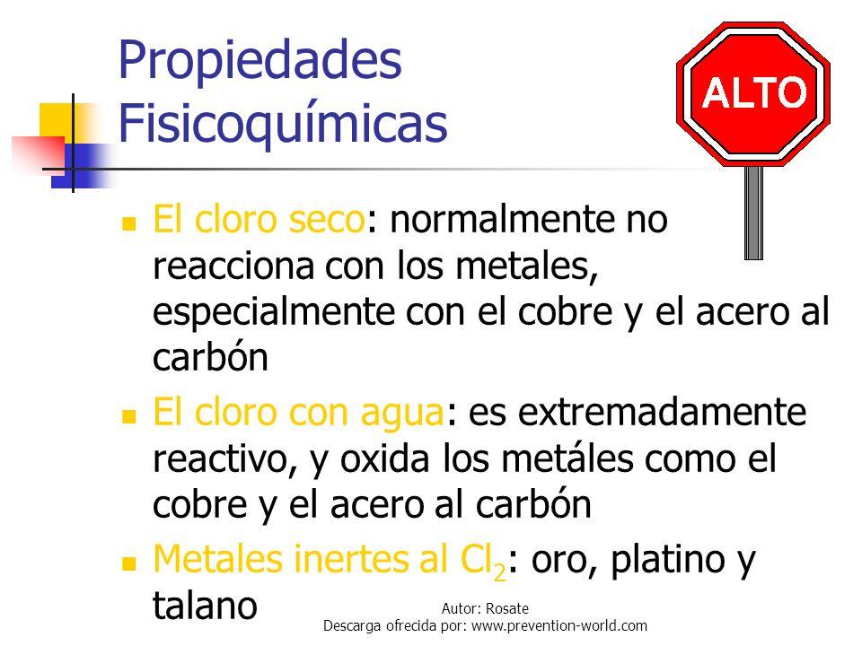 Autor: Rosate Descarga ofrecida por: www.prevention-world.com Propiedades Fisicoquímicas Un volumen de cloro líquido cuando se evapora produce 460 uni
