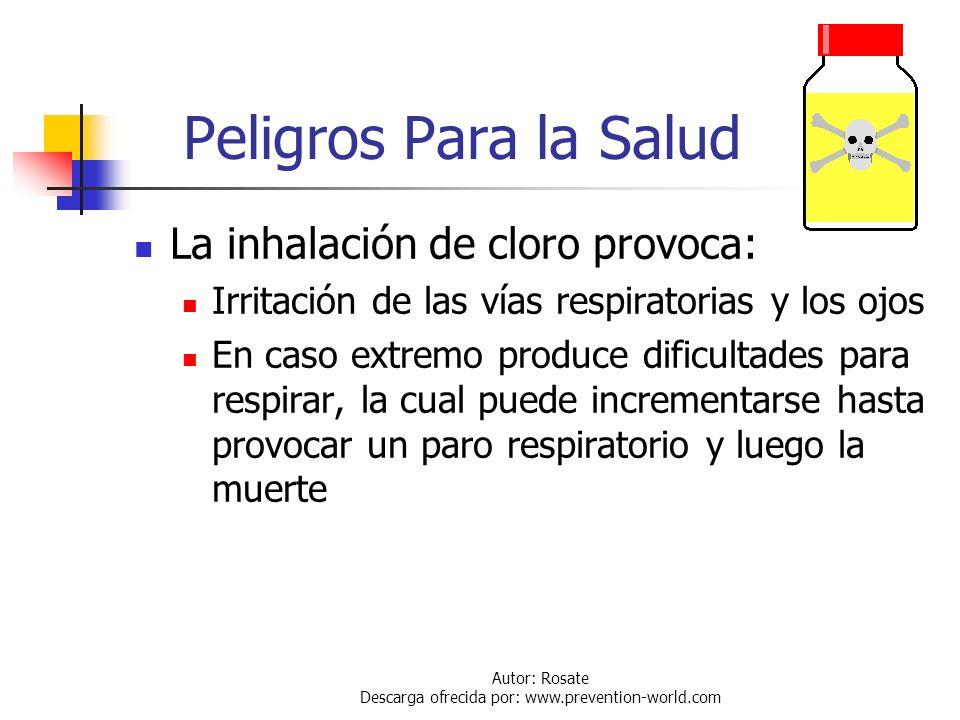 Autor: Rosate Descarga ofrecida por: www.prevention-world.com Densidad de Llenado Por regulación de la DOT, el peso de cloro que debe ser cargado en u