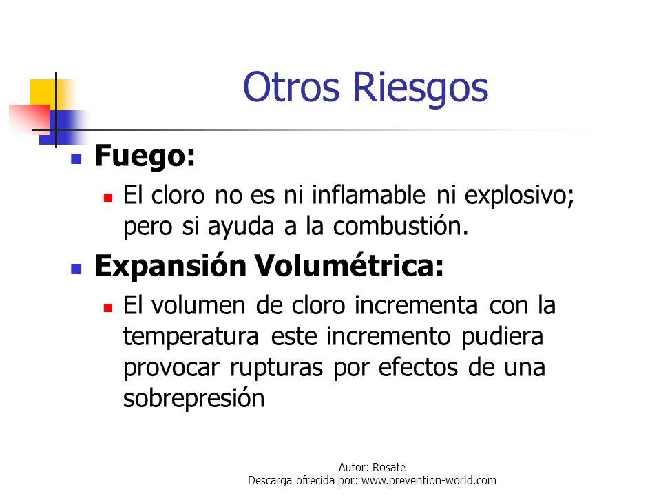 Autor: Rosate Descarga ofrecida por: www.prevention-world.com Peligros Para la Salud La inhalación de cloro provoca: Irritación de las vías respirator