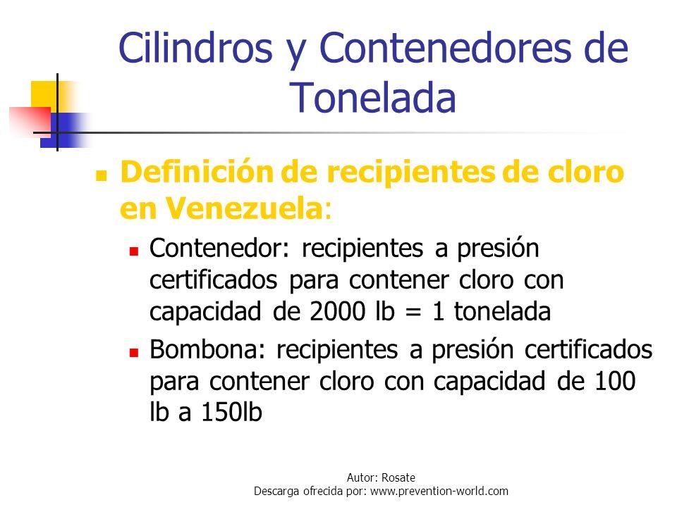 Autor: Rosate Descarga ofrecida por: www.prevention-world.com Otros Riesgos Fuego: El cloro no es ni inflamable ni explosivo; pero si ayuda a la combu
