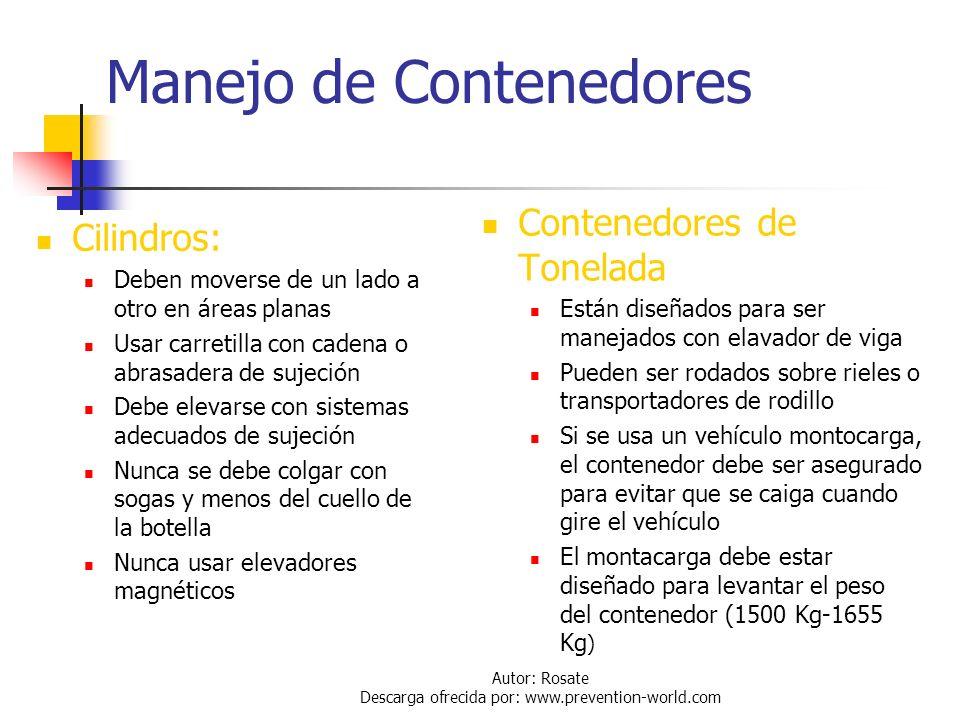 Autor: Rosate Descarga ofrecida por: www.prevention-world.com Manejo de Contenedores: Aspectos Generales Los contenedores deben ser manejados con sumo