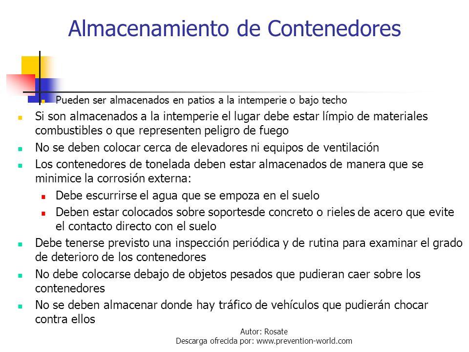 Autor: Rosate Descarga ofrecida por: www.prevention-world.com Manejo de Contenedores Cilindros: Deben moverse de un lado a otro en áreas planas Usar c