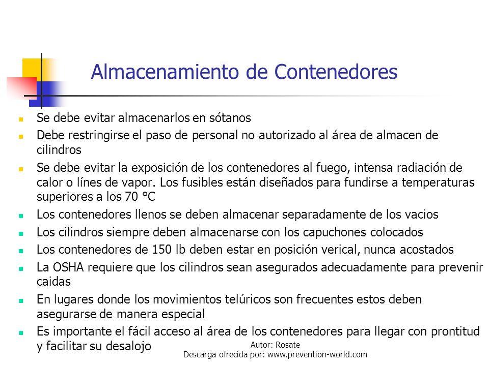 Autor: Rosate Descarga ofrecida por: www.prevention-world.com Almacenamiento de Contenedores Pueden ser almacenados en patios a la intemperie o bajo t