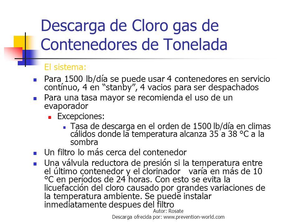 Autor: Rosate Descarga ofrecida por: www.prevention-world.com Descarga de Cloro gas de Contenedores de Tonelada Los contenedores deben estar dispuesto