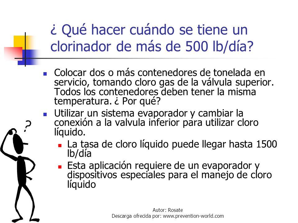 Autor: Rosate Descarga ofrecida por: www.prevention-world.com Descarga de Cloro gas de Contenedores de Tonelada Si se tiene un clorinador de 500 lb/dí