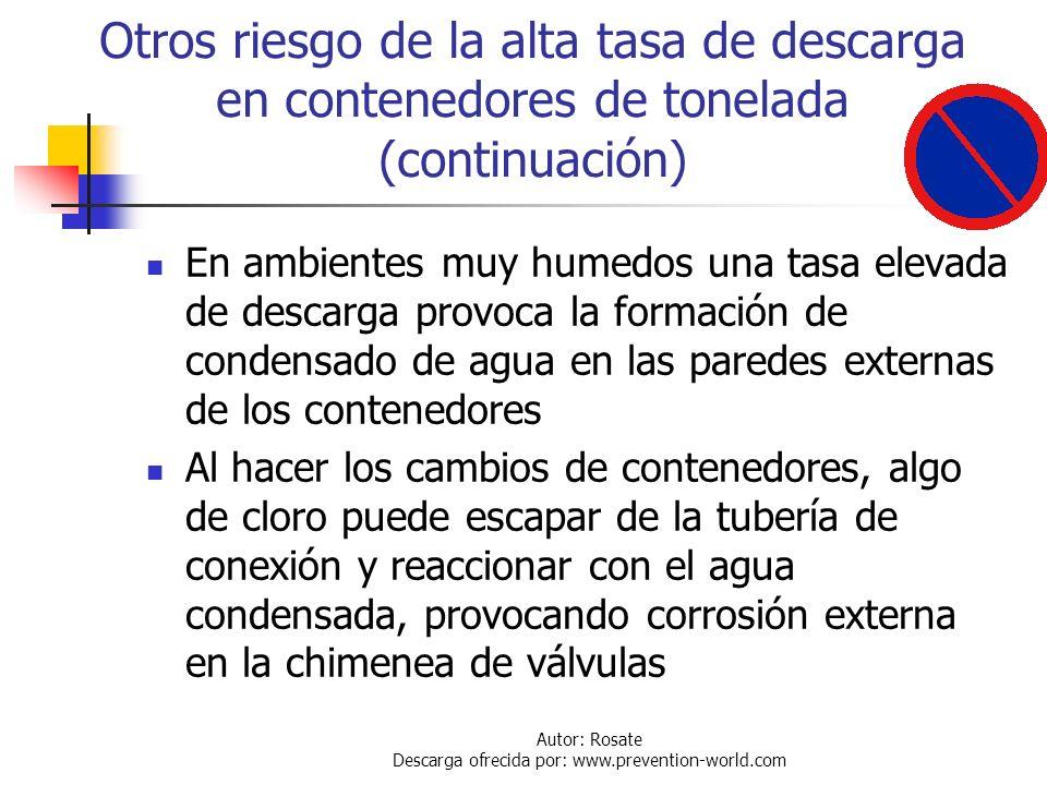 Autor: Rosate Descarga ofrecida por: www.prevention-world.com Otros riesgo de la alta tasa de descarga en contenedores de una tonelada Normalmente el