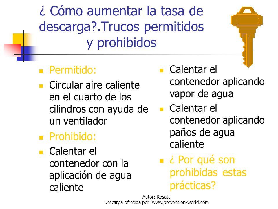 Autor: Rosate Descarga ofrecida por: www.prevention-world.com Otros riesgo de la alta tasa de descarga en contenedores de tonelada (continuación) En a