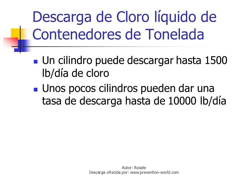 Autor: Rosate Descarga ofrecida por: www.prevention-world.com Descarga de Cloro líquido de Contenedores de Tonelada Los contenedores deben estar dispu
