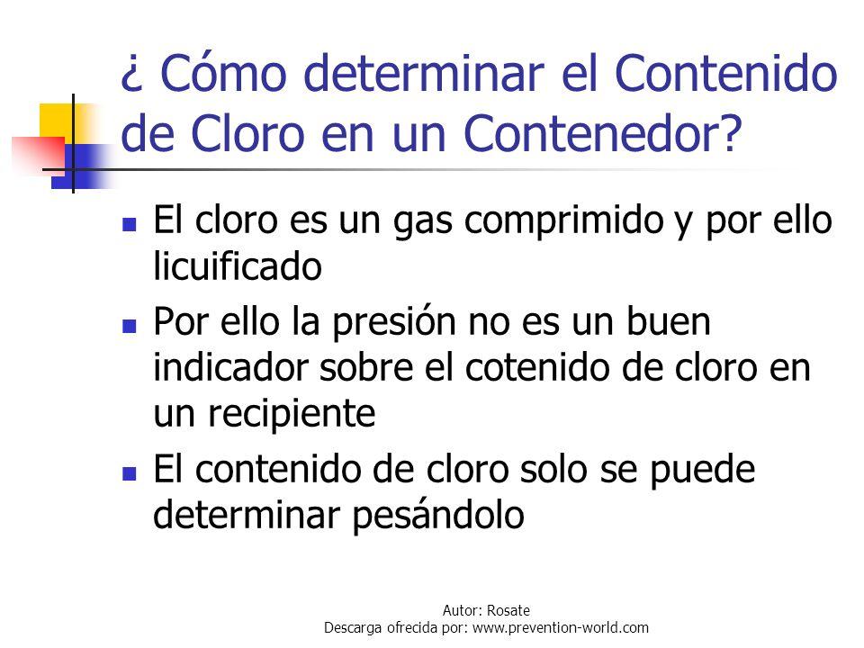 Autor: Rosate Descarga ofrecida por: www.prevention-world.com CONEXIÓN CORRECTA PARA DESCARGA DE CLORO LIQUIDO (DE CILINDROS DE UNA TONELADA)