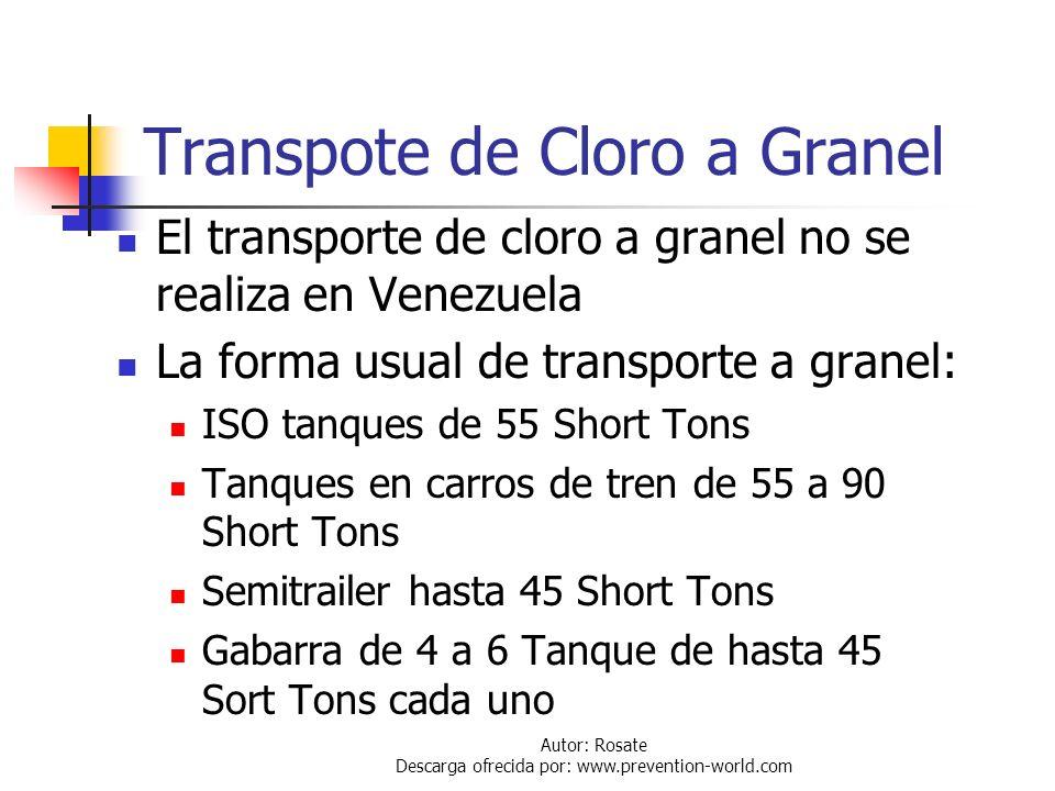 Autor: Rosate Descarga ofrecida por: www.prevention-world.com Transporte de Cloro En Venezuela el cloro es trasportado en cilindros de 150 lb y 2000 l