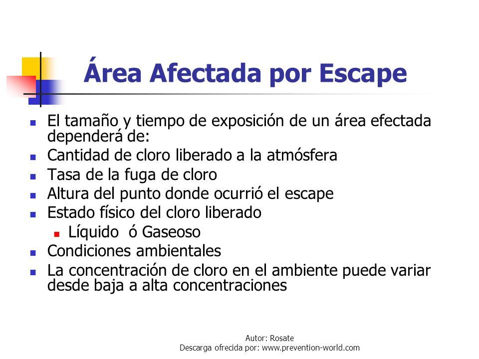 Autor: Rosate Descarga ofrecida por: www.prevention-world.com Clasificación de los Escapes Escape Instantáneos: Es cuando el escape de cloro a la atmó