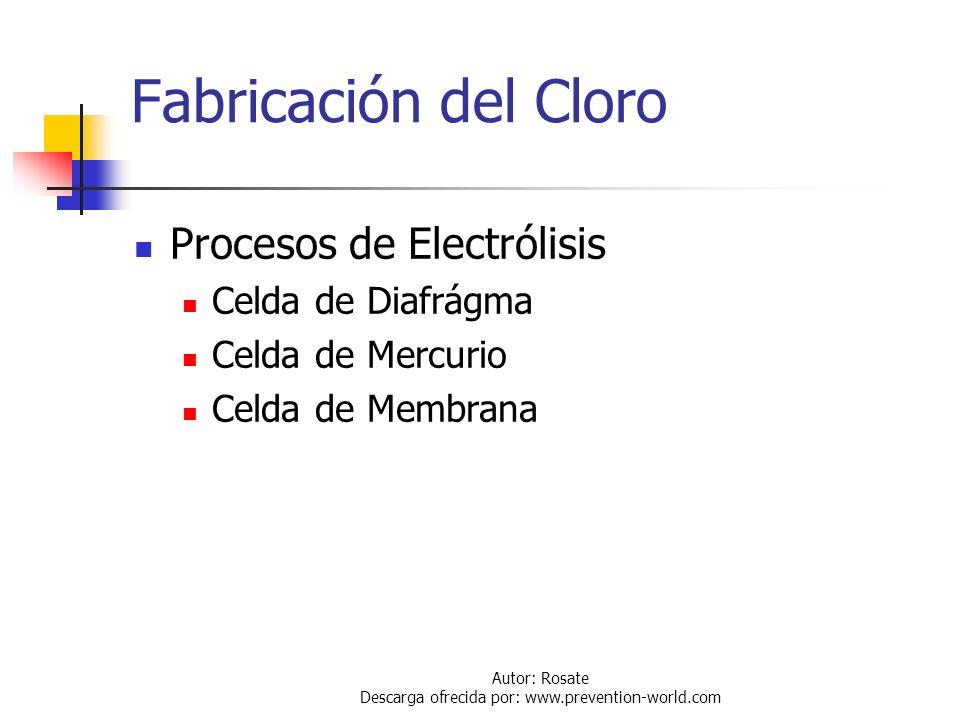 Autor: Rosate Descarga ofrecida por: www.prevention-world.com Información General Fabricación del Cloro Transporte del Cloro Propiedades Físico - Quím