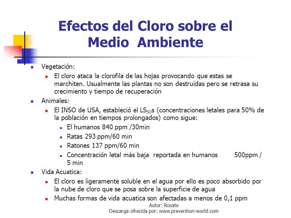 Autor: Rosate Descarga ofrecida por: www.prevention-world.com Estado Físico del Cloro en un Escape El cloro se puede liberar a la amósfera en estado: