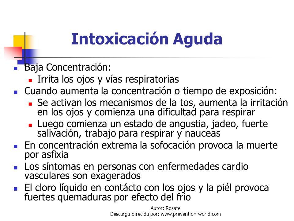 Autor: Rosate Descarga ofrecida por: www.prevention-world.com Aspectos Médicos y Primeros Auxilios El Cl 2 es un gas fuertemente irritante, aun a baja