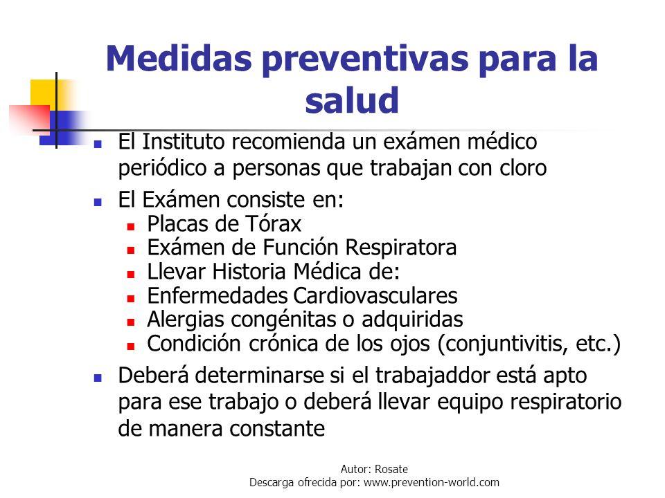Autor: Rosate Descarga ofrecida por: www.prevention-world.com Intoxicación Crónica Exposiciones a bajas concentraciones pero consecutivas o habituales