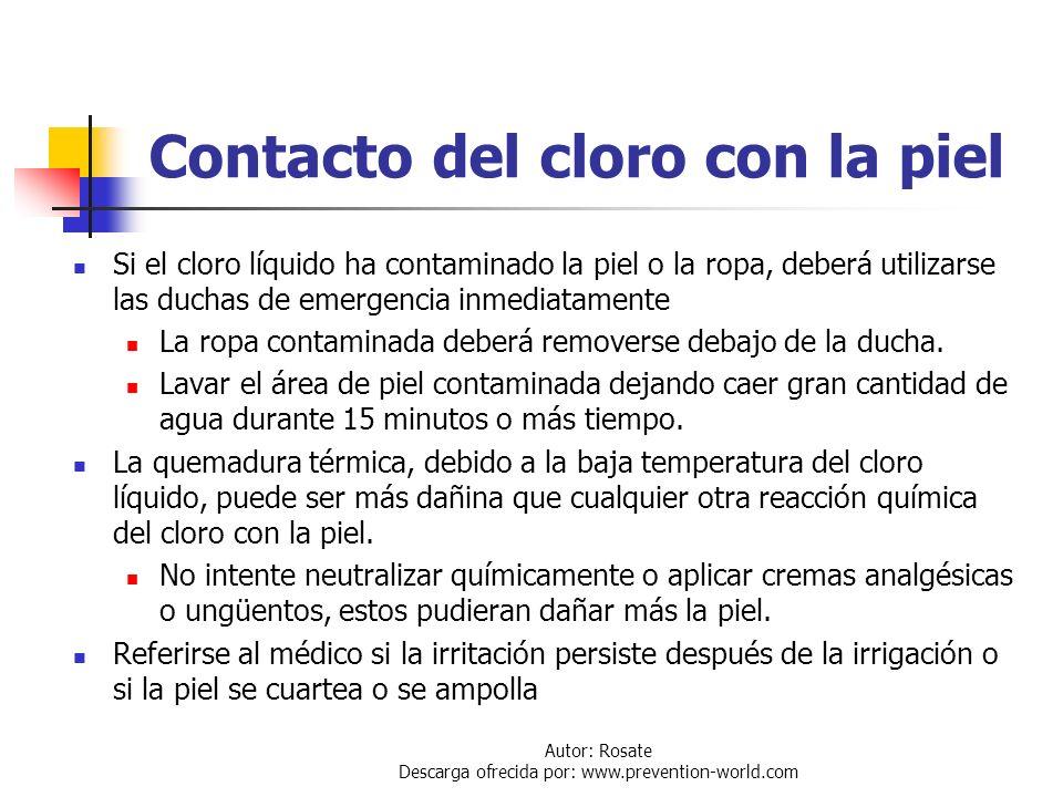 Autor: Rosate Descarga ofrecida por: www.prevention-world.com Inhalación de cloro Asistencia Respiratoria: El primer paso es trasladar al afectado a u