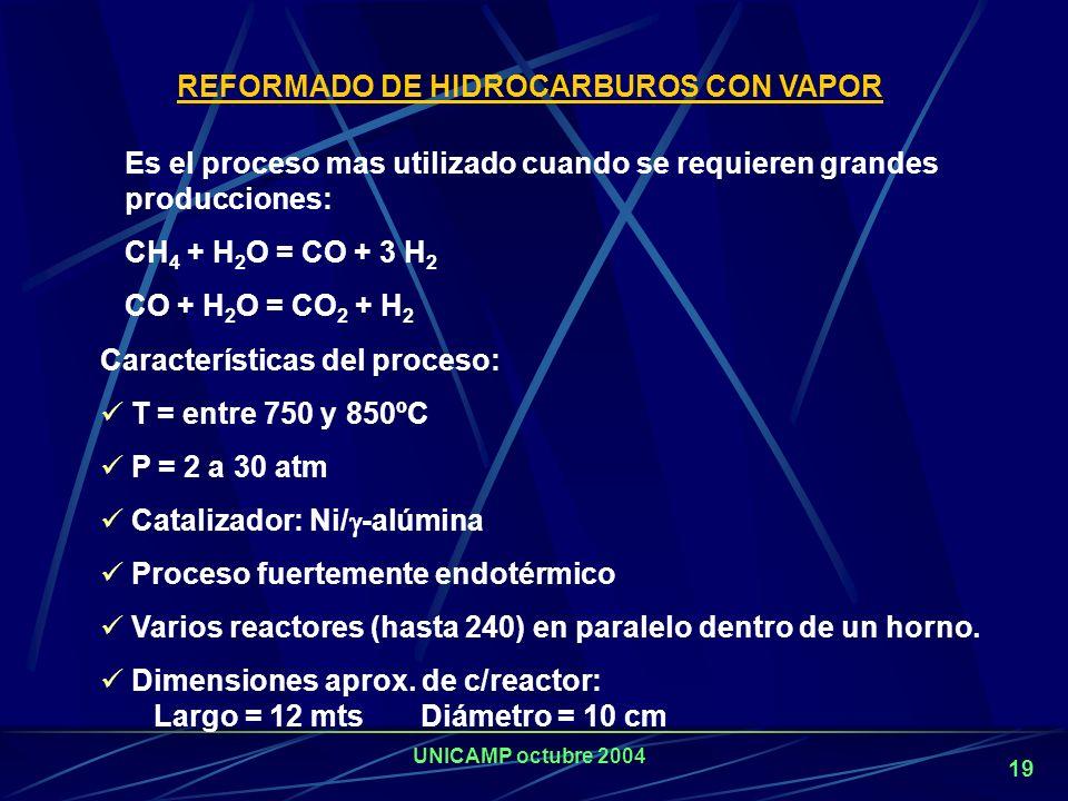 UNICAMP octubre 2004 18 CO puro Acido acético Isocianatos Metanol Oxo-alcoholes Combustible sintético H 2 CO CO 2 Gas de Síntesis Nafta Fuel oil Vacuum residues Asfaltos Carbón Biomasa Oxidación Parcial Gasificación O2O2 Metano LPG Nafta Steam reforming Vapor H 2 puro Shift conversion (WGS) Vapor CO 2 Amoníaco Reformado secundario Aire (N 2 ) Tecnologías actuales de producción de H 2.