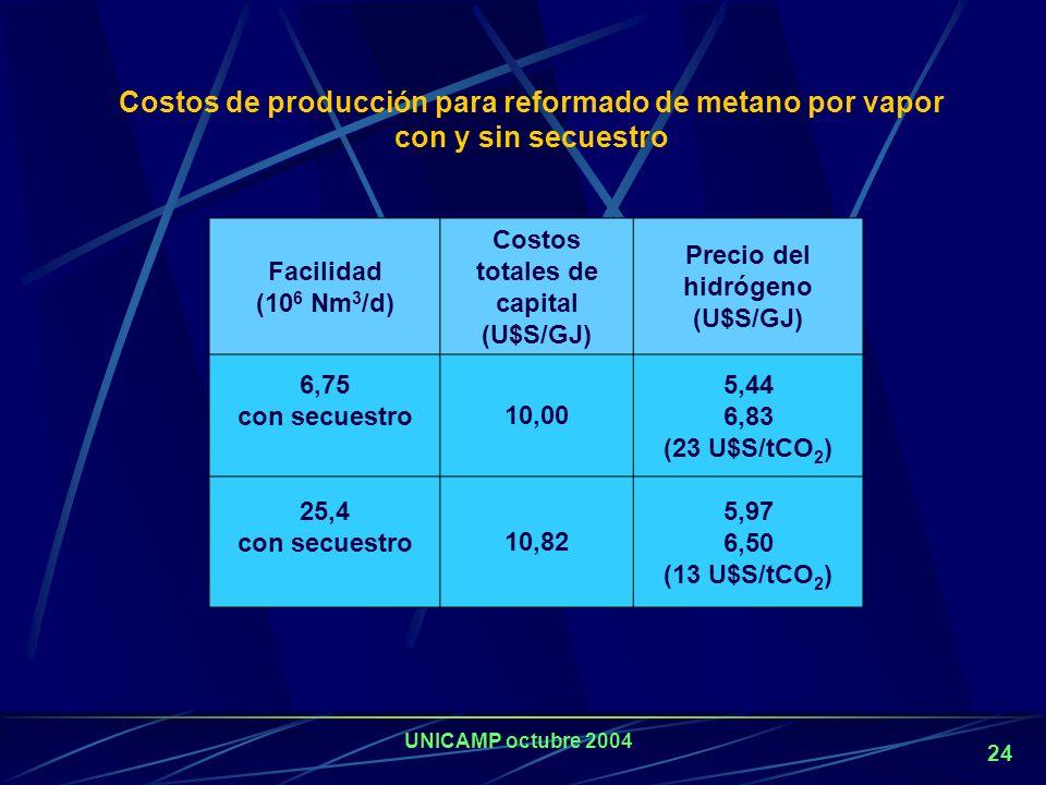 UNICAMP octubre 2004 23 La captura y confinamiento solo es factible en grandes plantas. Emisión de CO 2 : para evitar que se libere a la atmósfera PSA